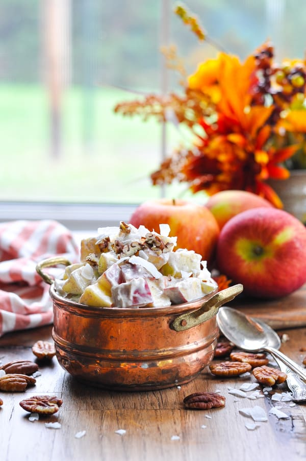 Copper bowl with creamy apple salad