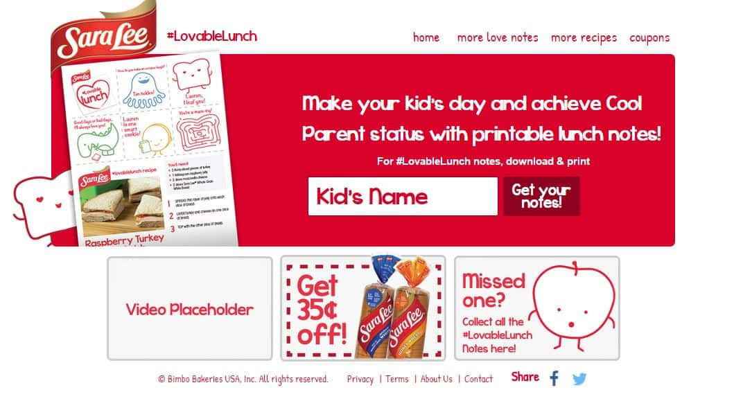 A screen shot of Sara Lee Lovable Lunch Homepage