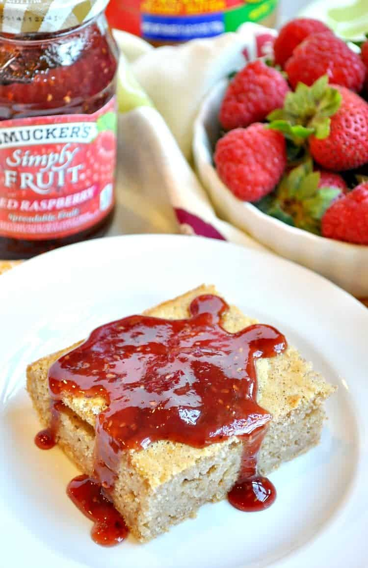 Peanut Butter and Jelly Baked Pancakes - The Seasoned Mom