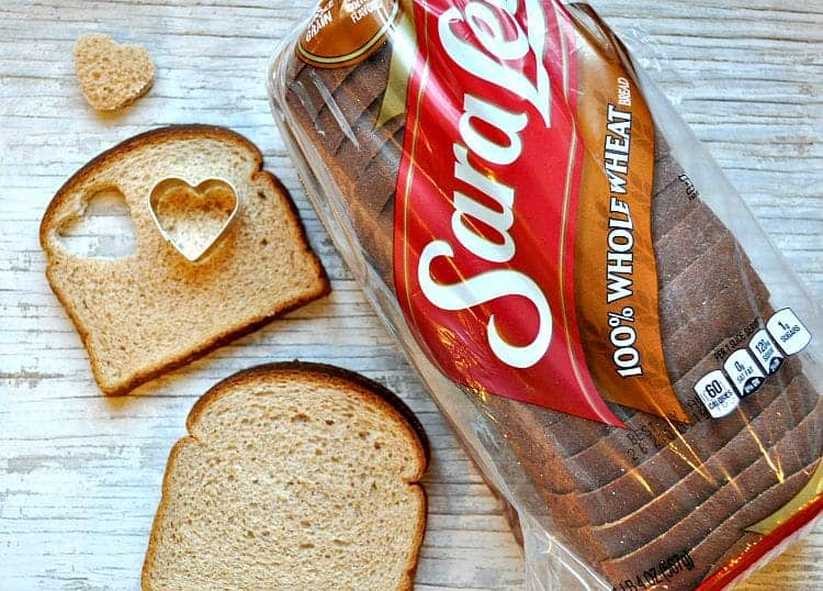 Sara Lee Bread in a packet with two slices beside cut out into hearts