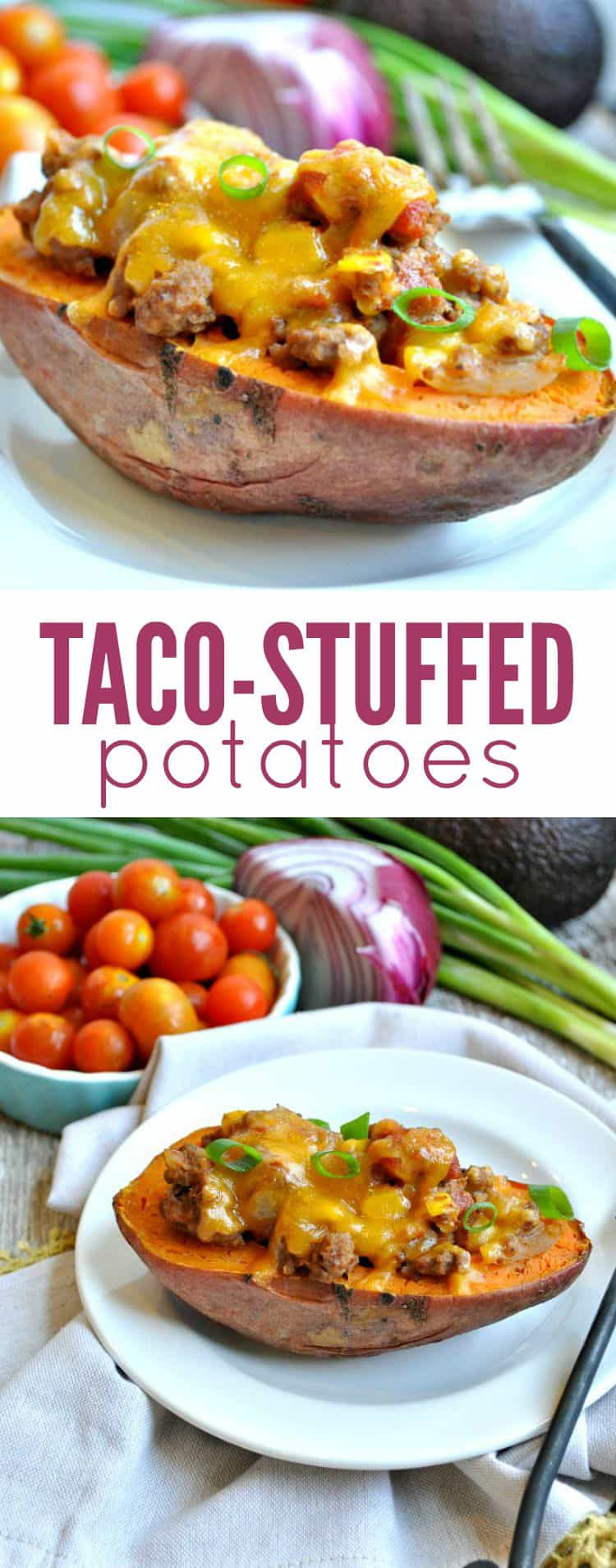 ... Taco Stuffed Potatoes! Whether you use sweet potatoes or russet