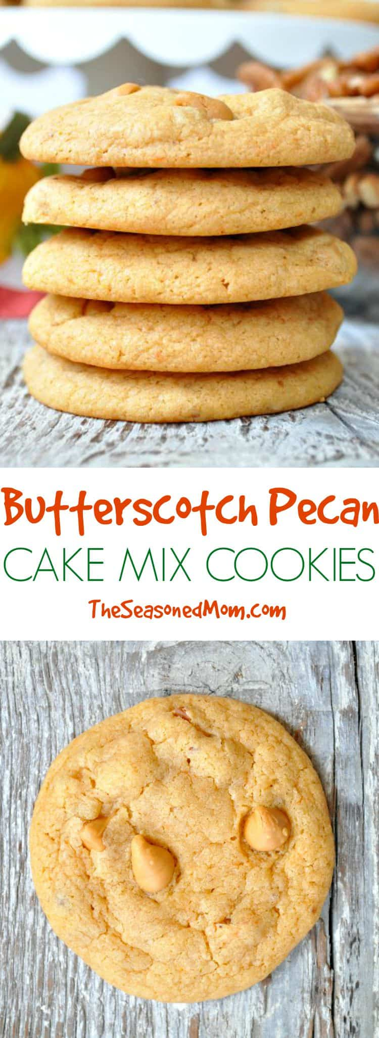 ... Butterscotch Pecan Cake Mix Cookies are soft, chewy, and absolutely