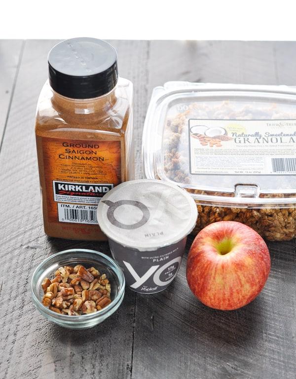 Ingredients for healthy yogurt parfait