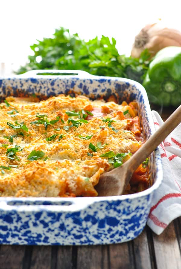 Chicken Parmesan Casserole in a blue and white baking dish