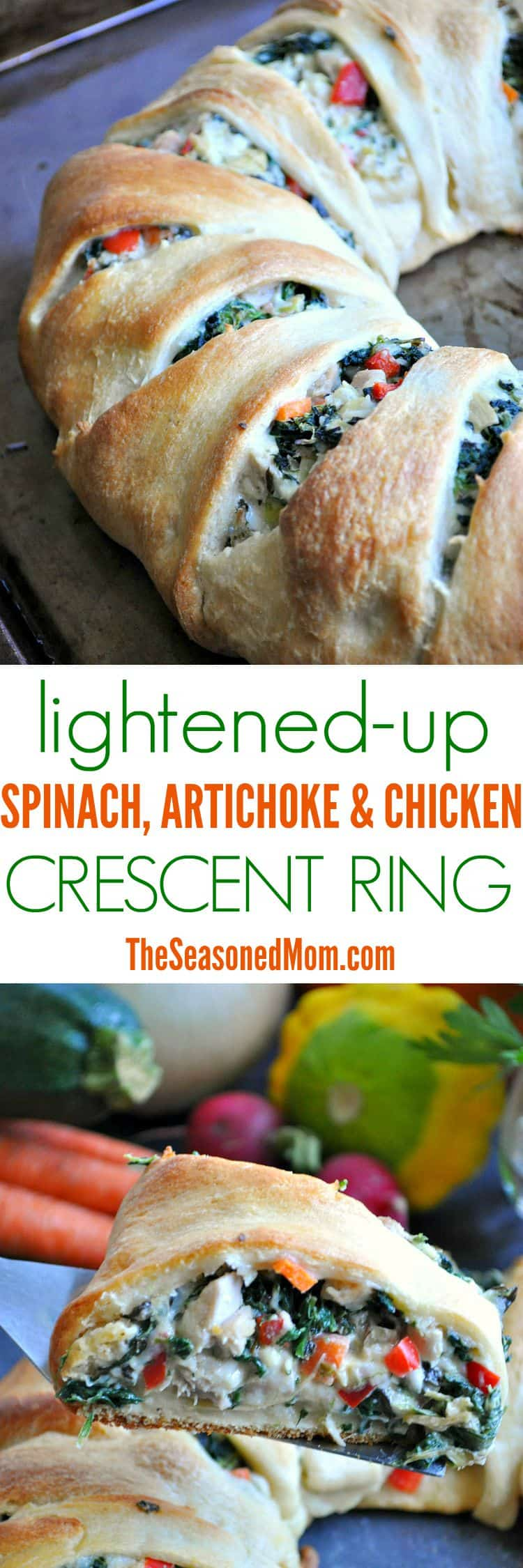 Lightened Up Spinach Artichoke & Chicken Crescent Ring