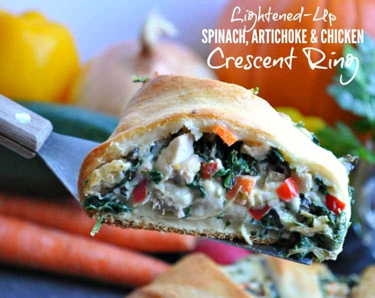 Lightened Up Spinach Artichoke and Chicken Crescent Ring TEXT