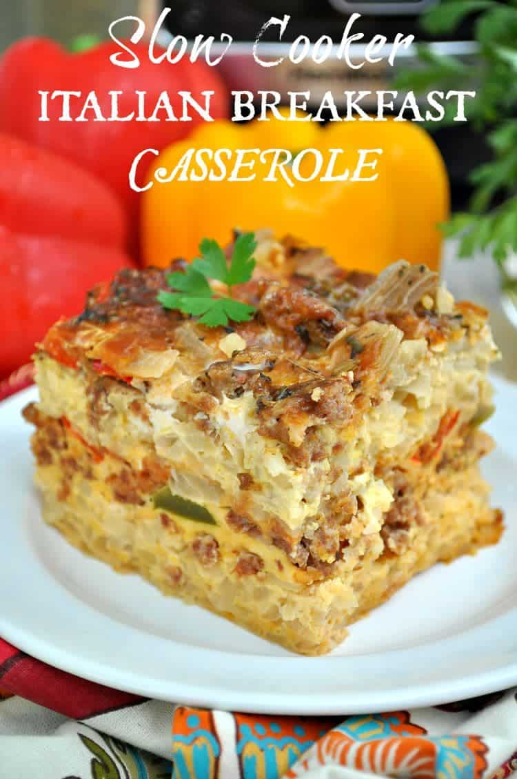 A slice of Italian breakfast casserole on a white plate