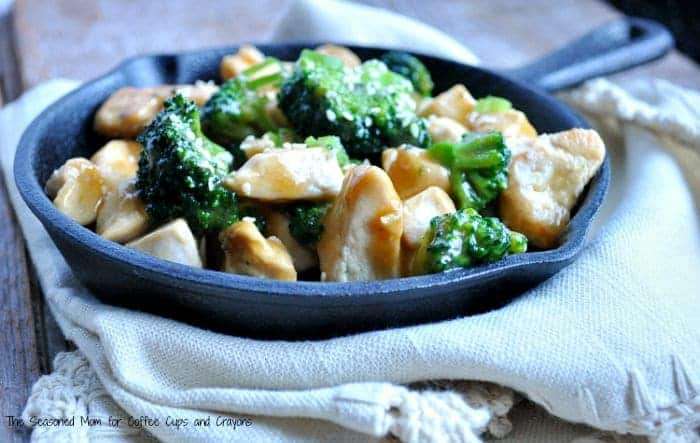 Orange Chicken and Broccoli in a skillet pan