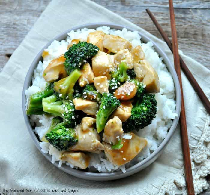 Orange Chicken and Broccoli on a plate with rice