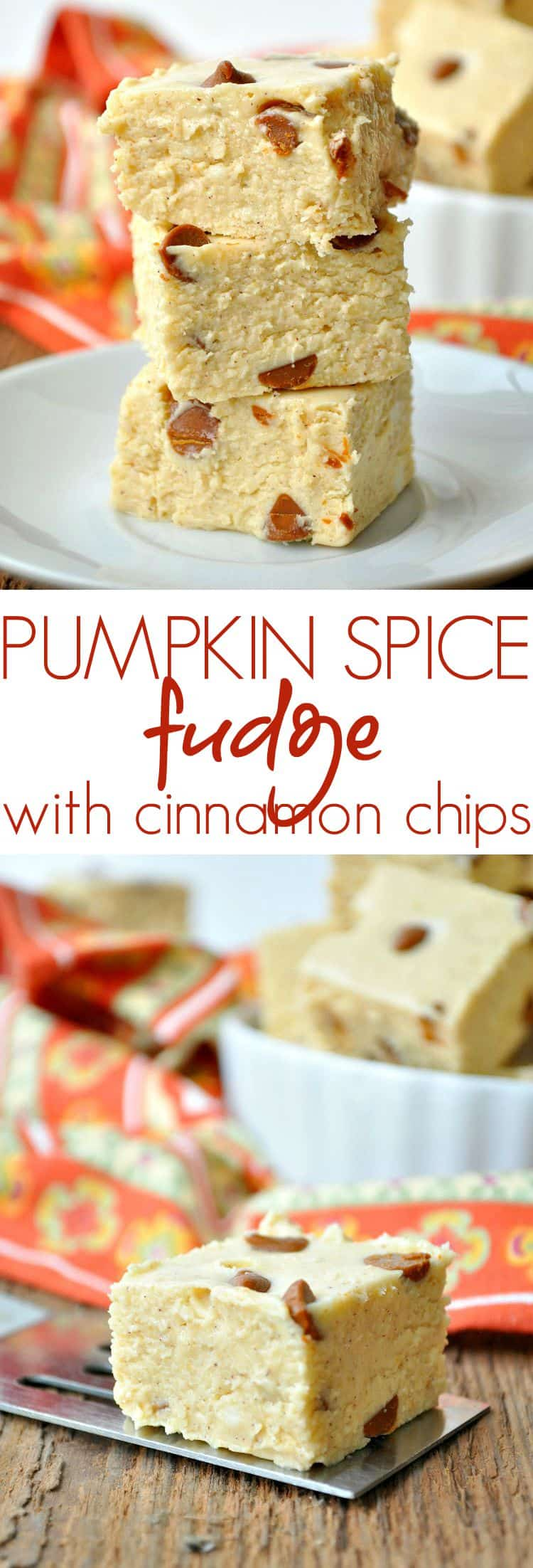 Pumpkin Spice Fudge with Cinnamon Chips