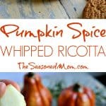 A collage image of pumpkin spice whipped ricotta dip