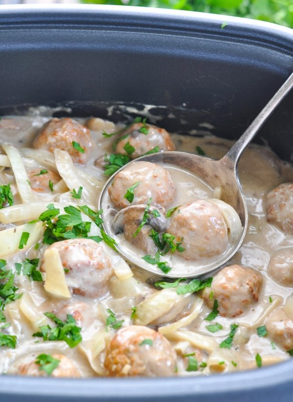 Slow Cooker Meatball Stroganoff The Seasoned Mom