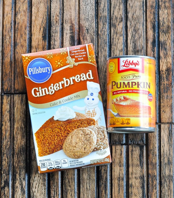 2 ingredients for pumpkin gingerbread cake from a cake mix