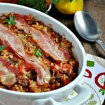Aunt Bee's Bacon-Topped Beef and Rice Casserole