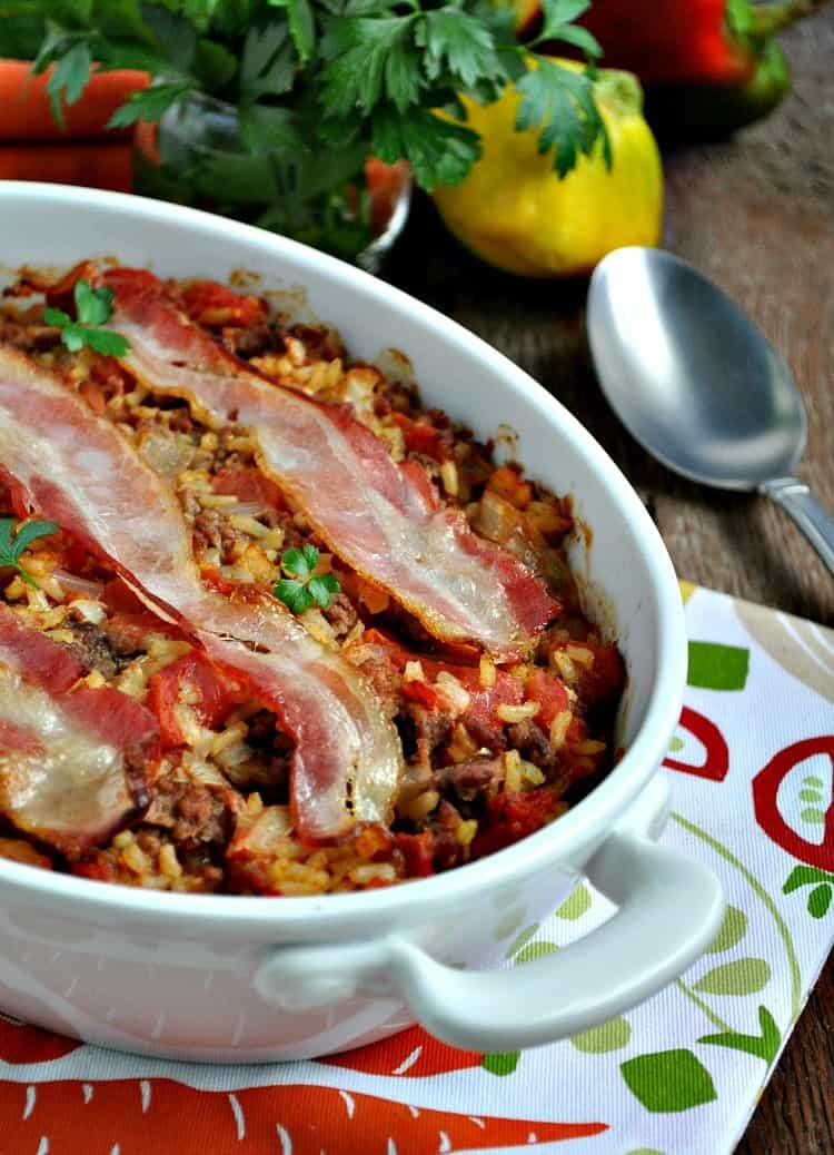 Bacon Topped Beef and Rice Casserole 2