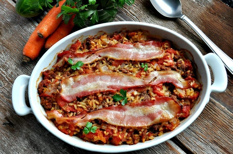 Bacon Topped Beef and Rice Casserole 3