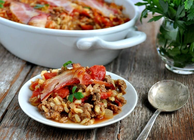 Bacon Topped Beef and Rice Casserole 6