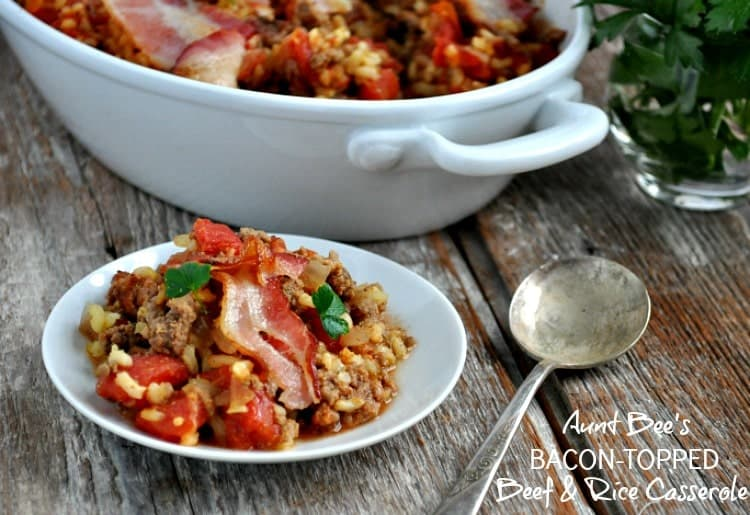 Bacon Topped Beef and Rice Casserole TEXT