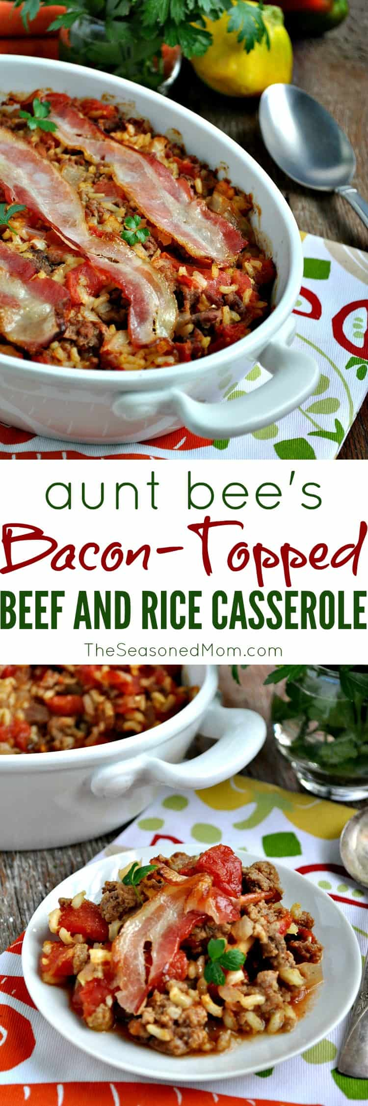 Bacon Topped Beef and Rice Casserole