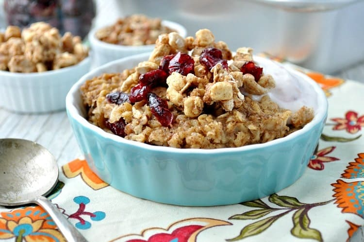 Crumb-Topped Cranberry Baked Oatmeal is an easy and healthy make-ahead breakfast option or a special weekend brunch!