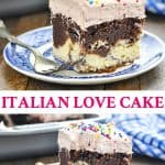 Long collage of Easy Chocolate Italian Love Cake
