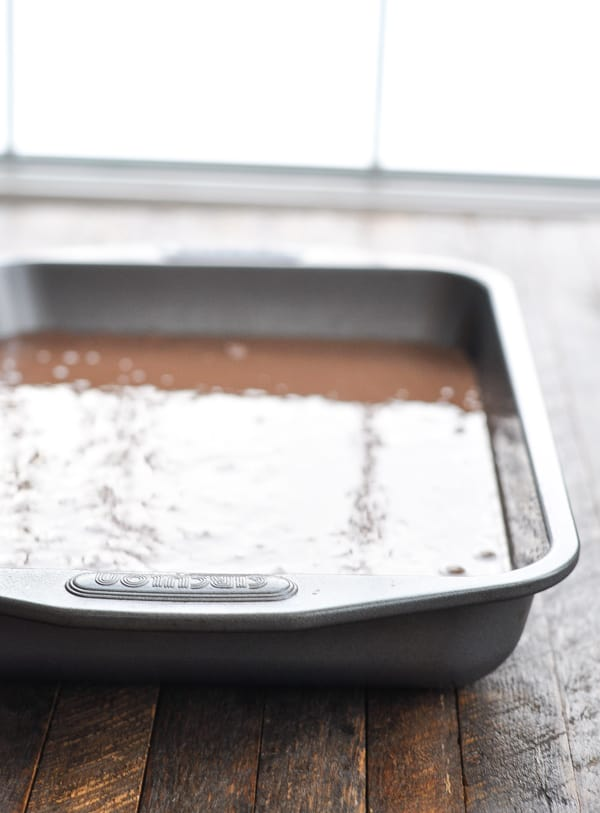 Chocolate cake batter in pan before baking