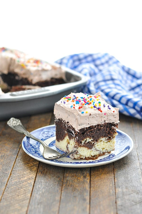 Piece of chocolate italian love cake with rainbow sprinkles
