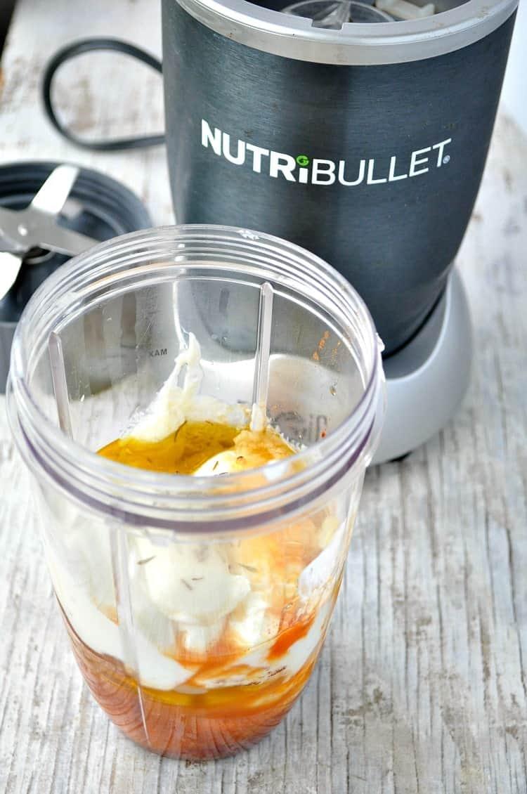 Healthy salad dressing in blender
