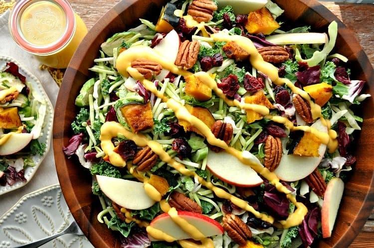 Fall Harvest Salad with Pumpkin Goddess Dressing 2
