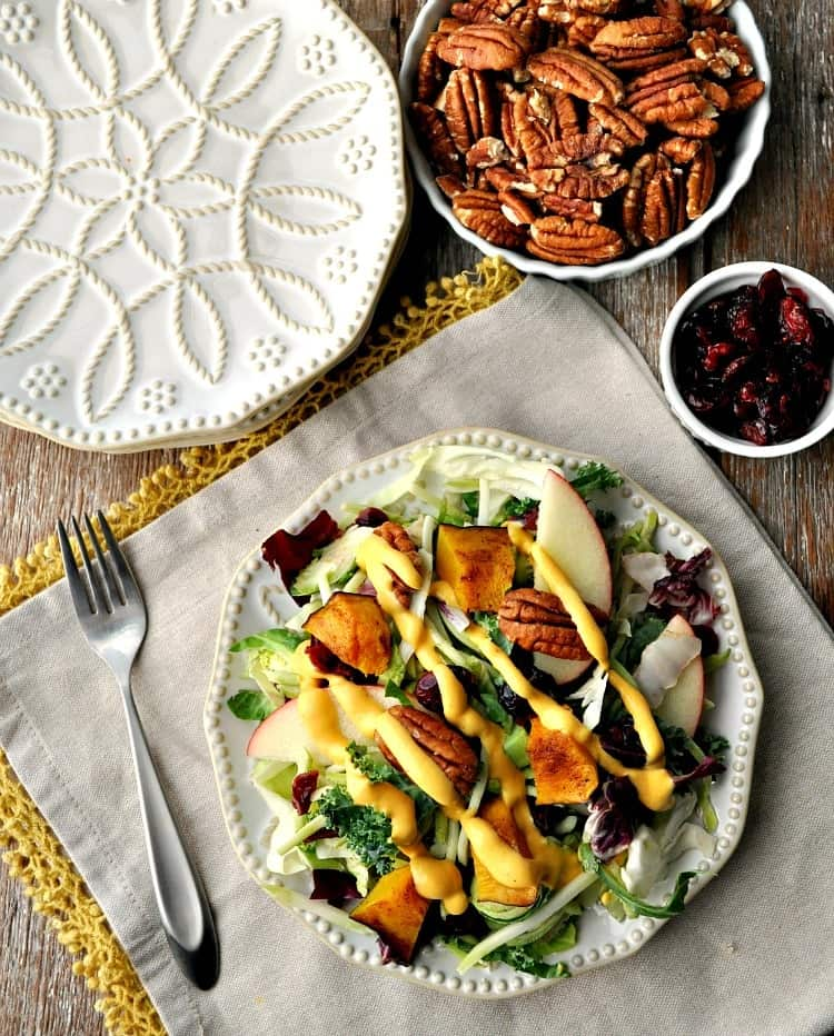 Healthy salad recipe with pumpkin dressing for Thanksgiving
