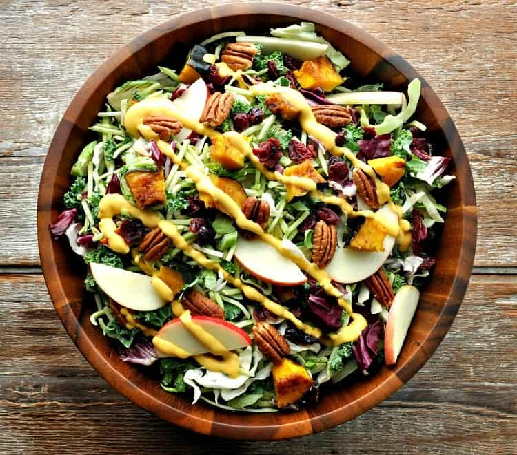 Healthy Thanksgiving Salad in a wooden bowl