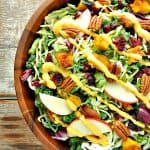 Fall Harvest Salad with healthy pumpkin goddess dressing is a healthy thanksgiving recipe