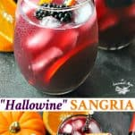 Long collage image of Hallowine Sangria recipe for Halloween party
