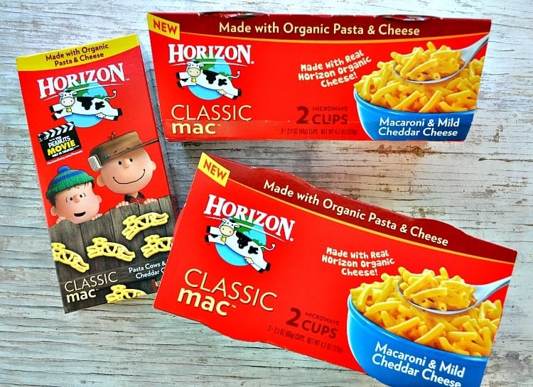 Horizon Classic Mac and cheese packages on a wooden surface