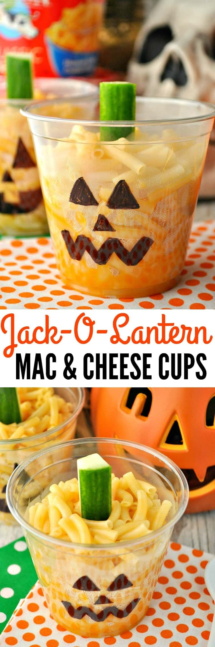 Jack-O-Lantern Mac & Cheese Cups are a fun and easy Halloween lunch, dinner, or party food for kids!