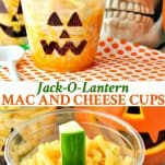 Long collage image of Jack O Lantern Mac and Cheese Cups