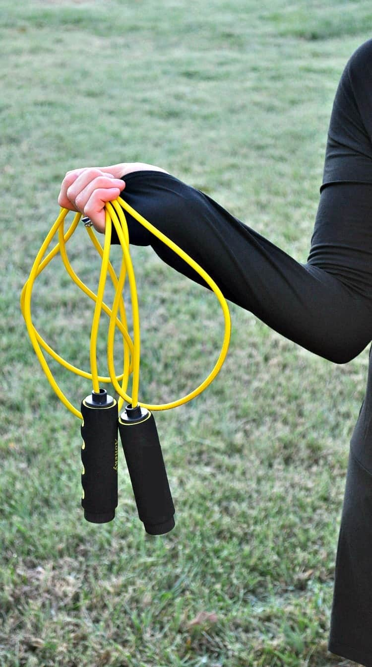 """Hop Through the Holidays"" with this fun & challenging 15 Minute Jump Rope Workout! It burns fat and strengthens muscles in a short amount of time!"