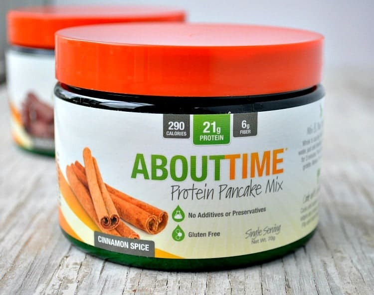 A side shot of Abouttime protein pancake mix