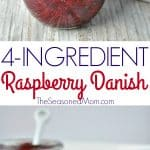 A collage image of a raspberry danish