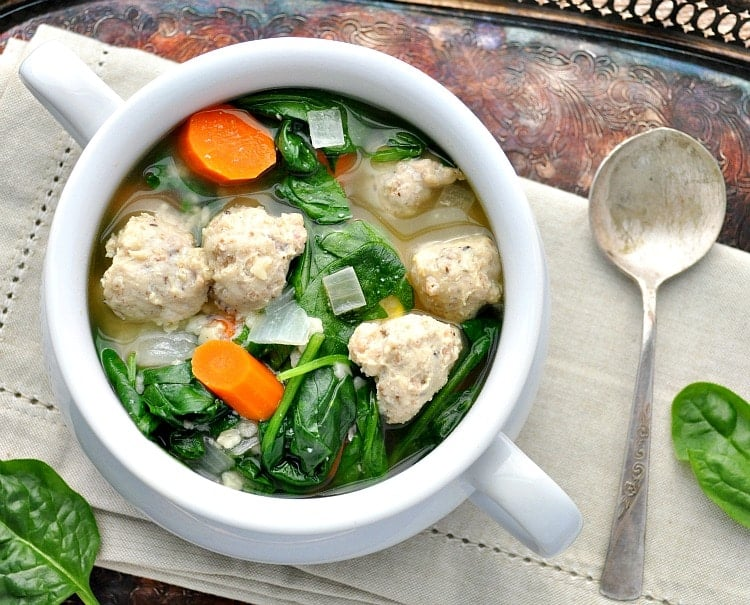 the mini chicken meatballs and the pasta cook right in the crock pot for an easy i have always loved the idea of italian wedding soup