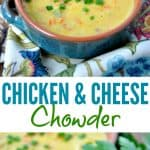 A collage image of chicken chowder with cheese