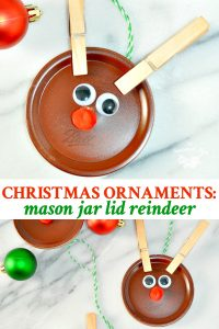 Long collage image of homemade Christmas ornaments