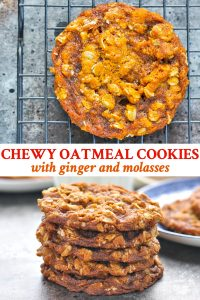 Long collage image of Easy Oatmeal Cookies