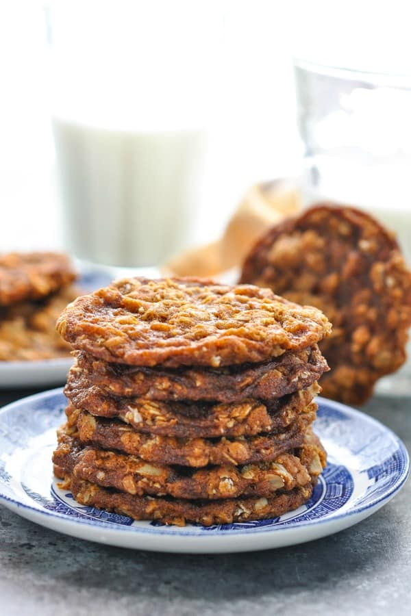 Stack of simple oatmeal cookies on a blue and white plate