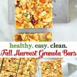 Long collage of Fall Harvest Healthy Granola Bars