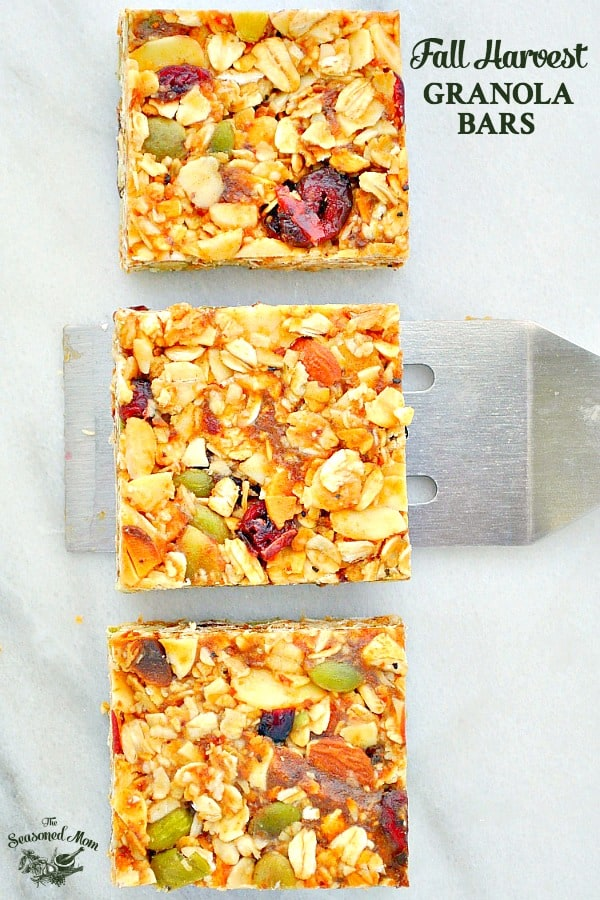 3 Healthy Granola Bars on a cutting board with text overlay