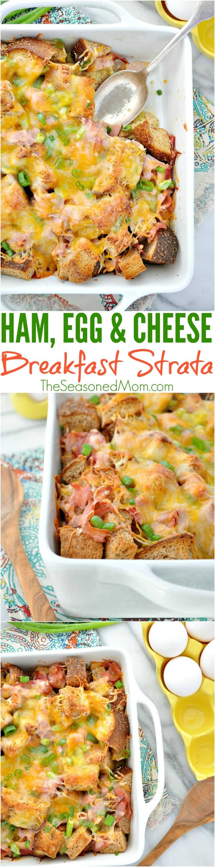 Ham Egg Cheese Breakfast Strata is an easy make-ahead brunch dish that's perfect for the holidays! Add this overnight breakfast casserole to your menu -- you will not be disappointed!