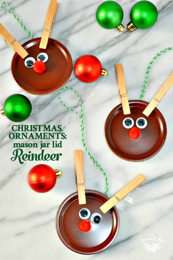 homemade christmas ornaments mason jar lid reindeer the seasoned mom