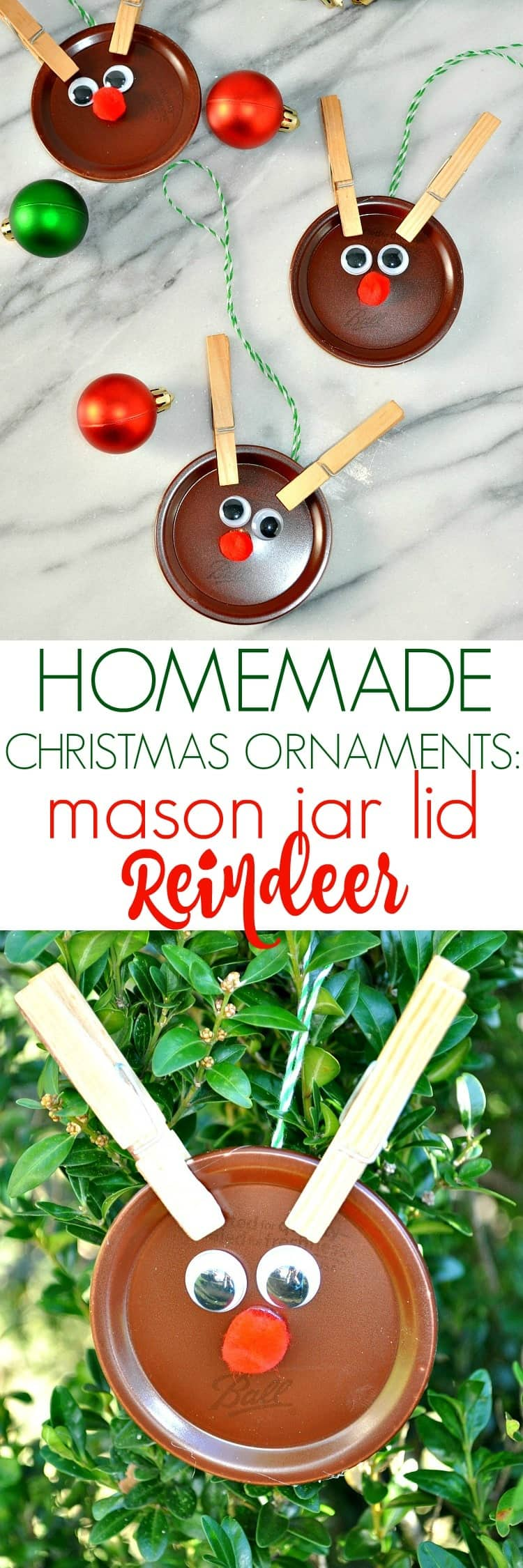 Homemade Christmas Ornaments: Mason Jar Lid Reindeer - The ...