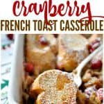 A collage image of an overnight french toast casserole